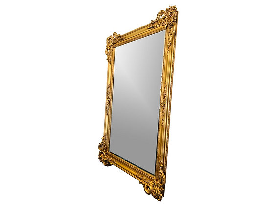 "#7290 Monumental Baroque Beveled Gold Framed Carved Mirror 61""x84"""