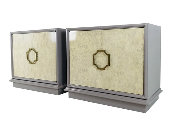 #3891 Pair Bachelor Mastercraft Chest w/Bleached Burl Wood & Gray Lacquer