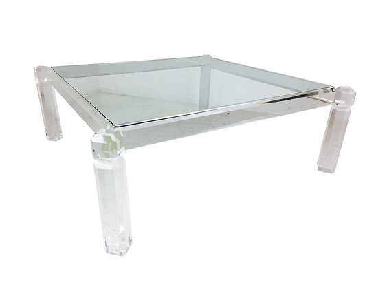 #2885 Lucite & Glass Coffee Table