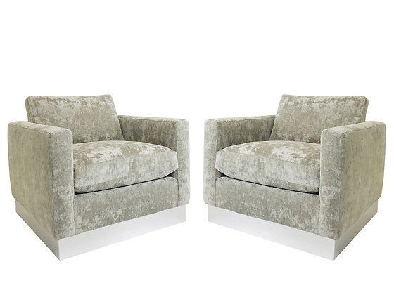 #2160 Pair of Milo Baughman Style Cube Lounge Chairs with Plinth Base