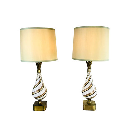 #5213 Pair of Dino Martens Murano Lamps