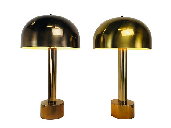#3348 Pair of Bronze Mushroom Dome Lamps in the Style of Laurel