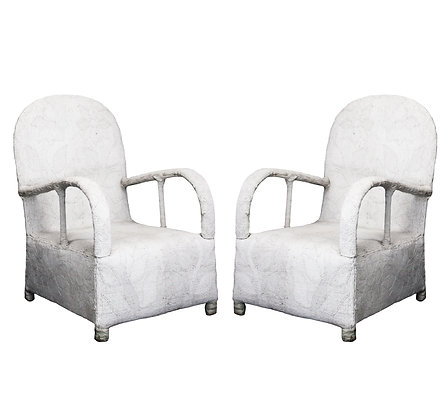 #2738 Pair of White Beaded African Chairs