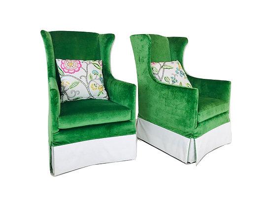 #4849 Pair Tall Green Velvet Wingback Swivel Chairs