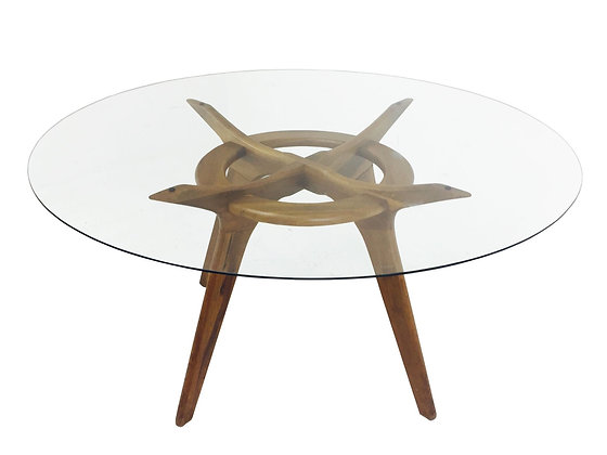 """#3030 Adrain Pearsall Compass Dining Table with 1/4"""" Round Glass"""