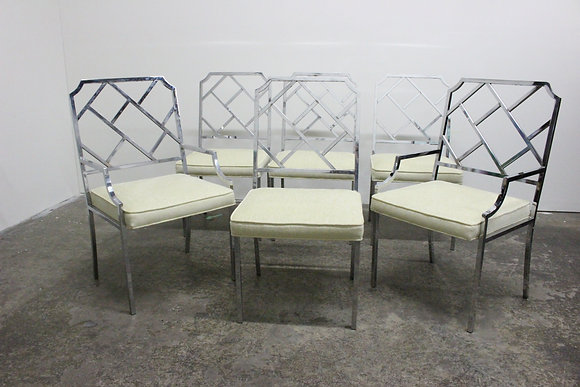 8377 Set of 6 DIA Chrome Chippendale Chairs