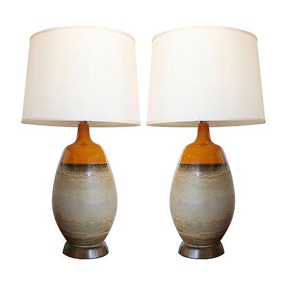 #7908 Pair Orange Glaze Lamps