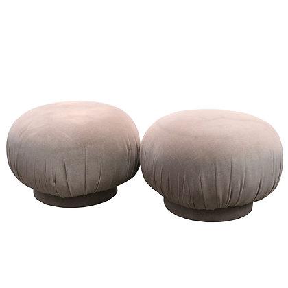 #7862 Pair Swivel Round Poufs