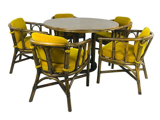 #3554 Set of Five McGuire Chairs & Round Laminate Table