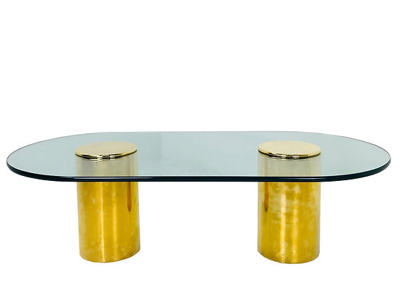 #3695 Double Brass Pedestal Coffee Table by Directional