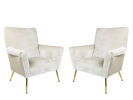 #2183 Pair of Vintage Italian Armchairs with Brass Legs