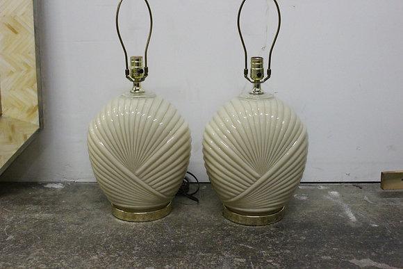 #857 Pr Deco Shell Glass Lamps