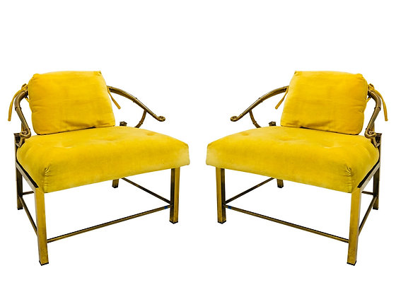 #3329 Pair of Brass Ming Chairs with Yellow Velvet