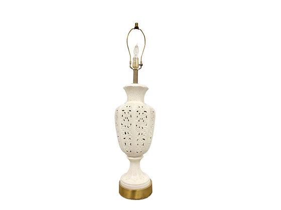 #4103 Single White Porcelain Filigree Lamp