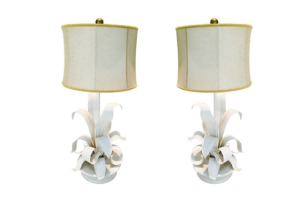 #1881 Pair White Sculptural Lamps