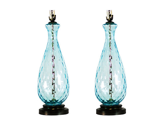 #3466 Pair of Light Blue Murano Lamps