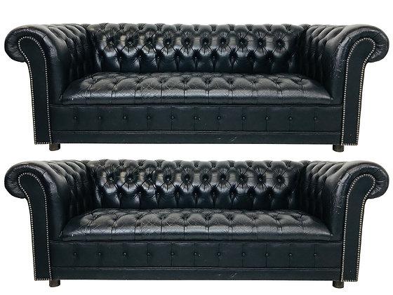 #3574 Pair Vintage Black Leather Chesterfield Settees
