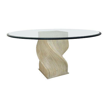 "#4293 McGuire Split Bamboo ""Spiral"" Table with Glass Top"