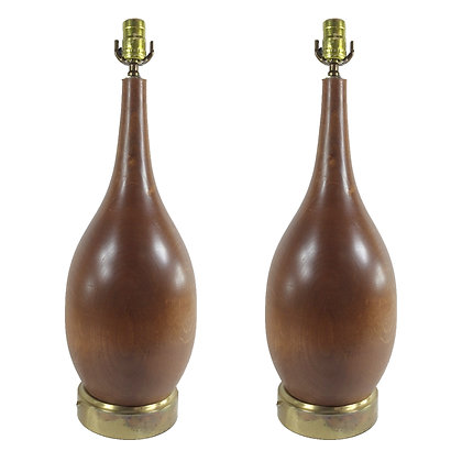 #4946 Pair Wooden Lamps