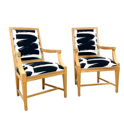#5417 Pair of Black & White Wood Armchairs