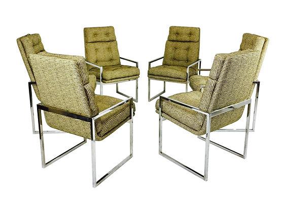 #2592 Set of 6 Milo Baughman Dining Chairs