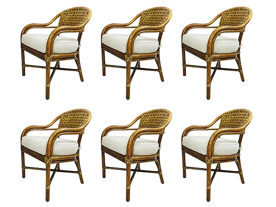 #2866 Set of Round Back McGuire Rattan Chairs