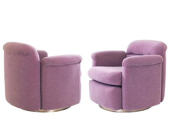 #3156 Pair of Mauve Milo Baughman Swivel Chairs