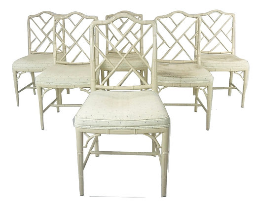 #4606 Faux Bamboo Chippendale Style Dining Chairs
