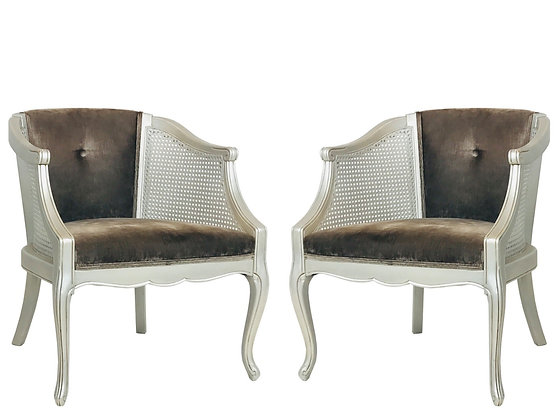 #4329 Pair of Silver Cane Armchairs