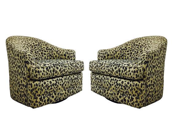 #2793 Pair Leopard Swivel Chairs