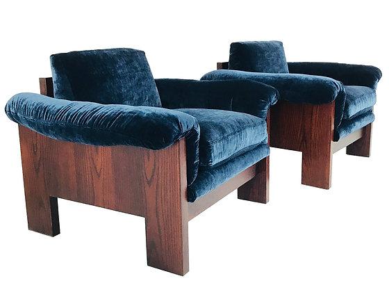 #3633 Pair of Milo Baughman Rosewood Lounge Chairs