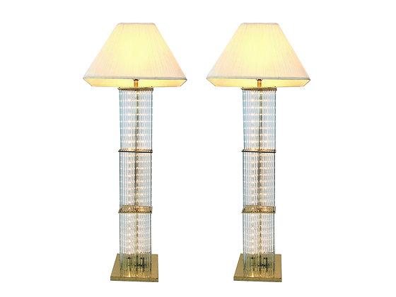 #4053 Pair of 1960s Sciolari Brass & Glass Rod Floor Lamps