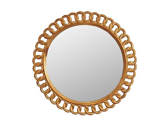 #8459 Vintage Round Gold Mirror