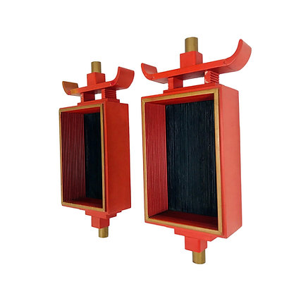 #5494 Pair of Red Asian Wall Shelves/Sconces