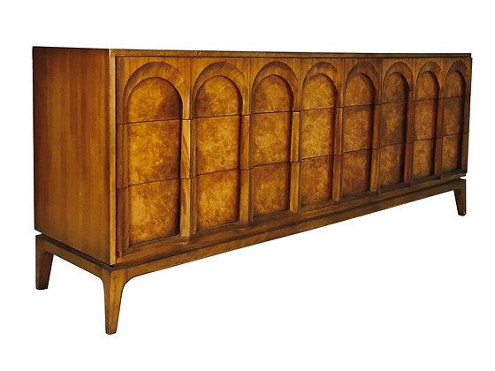 #2615 Nine Drawer Burl & Walnut Arch Front Dresser Thomasville