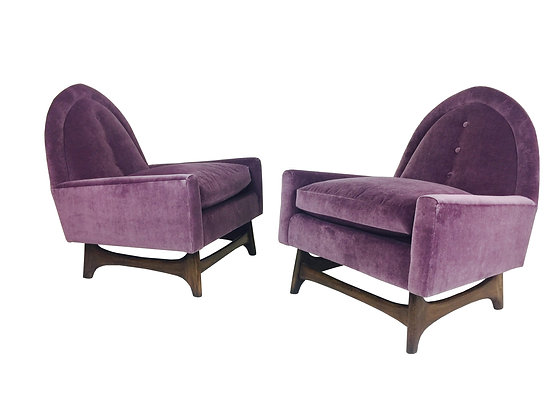 #2260 Pr Velvet Pearsall Style Lounge Chairs