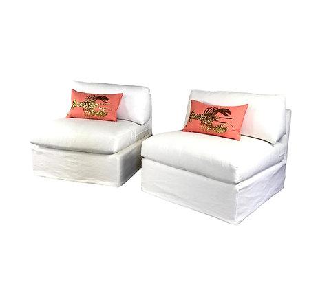 #5311 Pair of White Custom Slipper Chairs