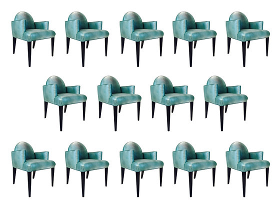 #1866 Donghia Luna Dining Arm Chair in Edelman Iridescent Leather (14 available)