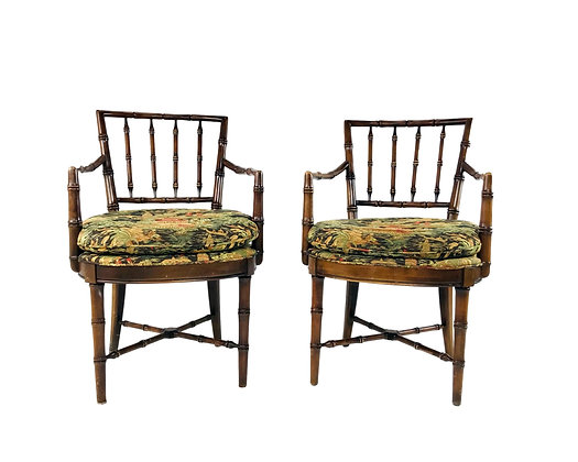 #5724 Pair of Faux Bamboo Armchairs by Drexel Heritage