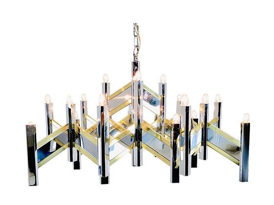 #4023 Vintage Geometric Sciolari Brass & Chrome Plated Chandelier