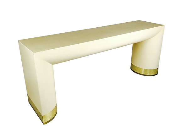 #2840 Grasscloth Console Table in Style of Karl Springer