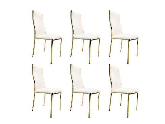 #1917 Set of 6 Brass & White Dining Chairs