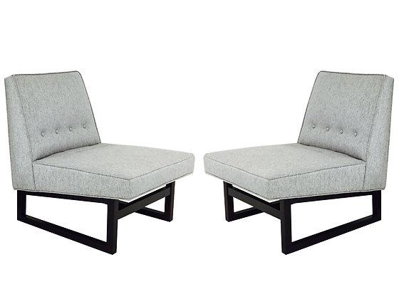 #2892 Pair of Sleigh Slipper Chairs by Dunbar Model #9611