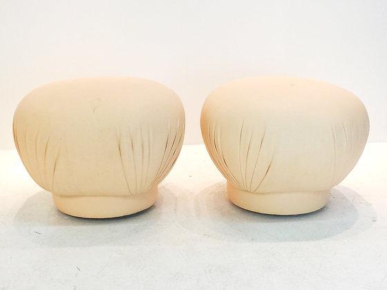 #1812 Pair Pink Mushroom Ottomans