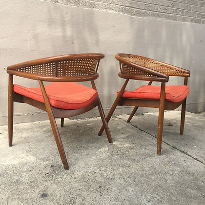 8644 Pair Cane Crescent Chairs
