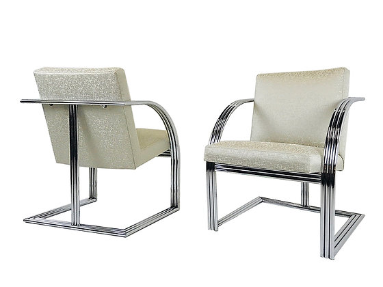 #1443 Pair Chrome Deco Style Milo Baughman Chairs