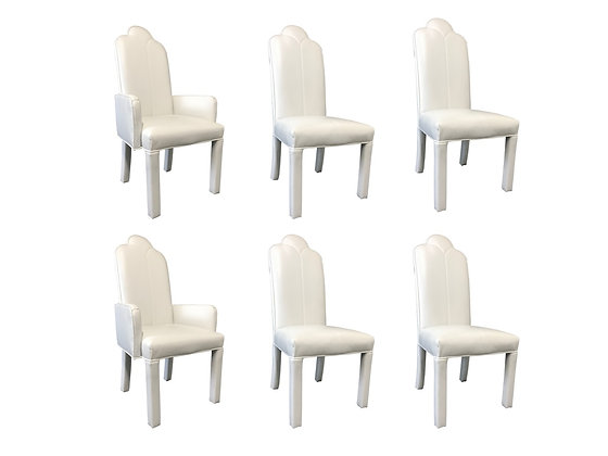 #3642 Set of Six Parson Style White Vinyl Dining Chairs
