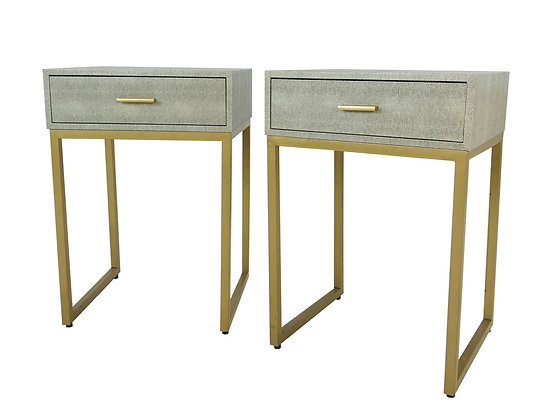 #4460 Pair Shagreen Side Tables
