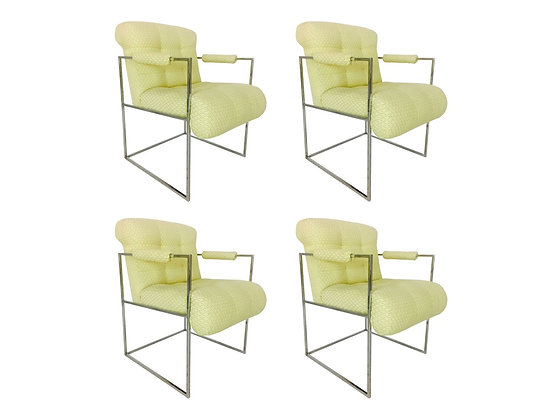 #3107 Set of 4 Thin Frame Milo Baughman Dining Chairs