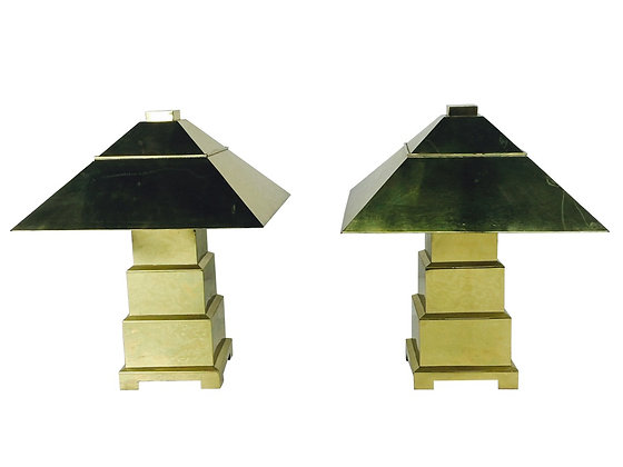 #2015 Pair of Brass Lamps & Shades